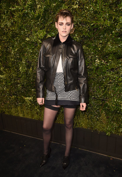 Charles Finch And Chanel Pre-Oscar Awards Dinner At Madeo In Beverly Hills - Arrivals [black,fashion model,footwear,jacket,fashion,leather jacket,leg,top,flooring,girl,charles finch,kristen stewart,chanel pre-oscar awards,dinner,arrivals,beverly hills,california,madeo,chanel,madeo in beverly hills]