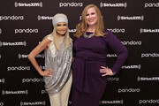 Kristin Chenoweth poses for a photo with SiriusXM host Julie James following a live performance on SiriusXM's On Broadway channel at Steinway Hall on September 17, 2019 in New York City.
