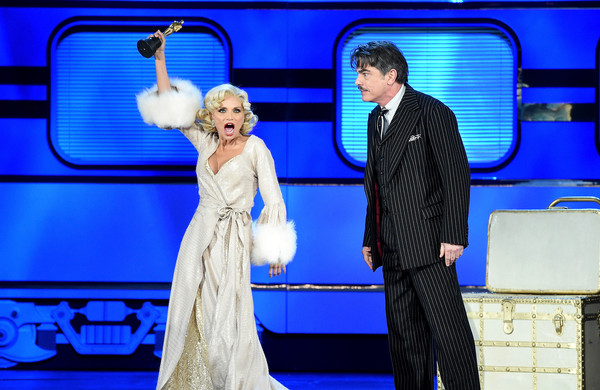 2015 Tony Awards - Show [on the twentieth century,fashion,performance,event,dress,performing arts,drama,fun,stage,fashion design,formal wear,cast,peter gallagher,kristen chenoweth,new york city,radio city music hall,show,tony awards]