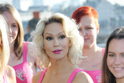 Kristina Rhianoff attends a photocall to launch a Breast Cancer Awareness sports bra on October 9, 2012 in London, England.