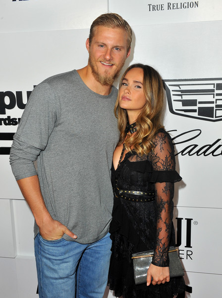 Republic Records and Cadillac Host VMA After-Party at Tao Restaurant - Red Carpet [cadillac host vma,fashion,event,muscle,long hair,premiere,smile,t-shirt,jeans,facial hair,style,kristy dawn dinsmore,alexander ludwig,dream hotel,restaurant,california,republic records,tao restaurant - red carpet,party,l]