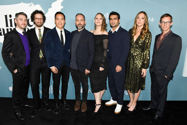 "Premiere Of Apple TV+'s ""Little America"" - Red Carpet [red carpet,social group,event,team,suit,white-collar worker,formal wear,company,tv,arthur spector,emily gordon,kumail nanjiani,l-r,little america,apple,premiere,premiere,emily v. gordon,kumail nanjiani,lee eisenberg,sian heder,joshuah bearman,little america,los angeles,premiere,stock photography,photograph]"