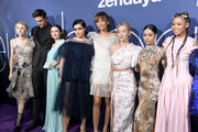 "(L-R) Hunter Schafer, Jacob Elordi, Maude Apatow, Barbie Ferreira, Zendaya, Sydney Sweeney, Alexa Demie, and Storm Reid attend the LA Premiere of HBO's ""Euphoria"" at The Cinerama Dome on June 04, 2019 in Los Angeles, California."