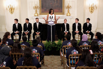 David Beckham Landon Donovan LA Galaxy Players Join Michelle Obama At Let's Move Event At White House