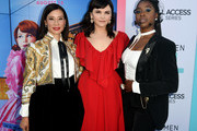 (L-R) Lucy Liu, Ginnifer Goodwin and Kirby Howell-Baptiste arrive at the premiere of CBS All Access' 'Why Women Kill' at the Wallis Annenberg Center for the Performing Arts on August 07, 2019 in Beverly Hills, California.