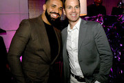 """Drake (L) and Casey Bloys pose at the after party for the premiere of HBO's """"Euphoria"""" at NeueHouse on June 04, 2019 in Los Angeles, California."""