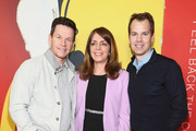 """Mark Wahlberg, Nancy Abraham and Casey Bloys attend the LA Premiere Of HBO's """"McMillion$"""" at the Landmark Theater on January 30, 2020 in Los Angeles, California."""