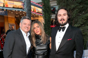 "(L-R) Ted Sarandos, Jennifer Aniston and Kyle Newacheck attend the LA premiere of Netflix's ""Murder Mystery"" at Regency Village Theatre on June 10, 2019 in Westwood, California."