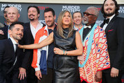 "Erik Griffin, Tripp Vinson, Luis Gerardo Méndez, James Vanderbilt, Adam Sandler, Jennifer Aniston, Dany Boon, John Kani and Kyle Newacheck attend the LA premiere of Netflix's ""Murder Mystery"" at Regency Village Theatre on June 10, 2019 in Westwood, California."