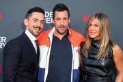"(L-R) Luis Gerardo Méndez, Jennifer Aniston and Adam Sandler attend the LA premiere of Netflix's ""Murder Mystery"" at Regency Village Theatre on June 10, 2019 in Westwood, California."