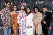 "(L-R) Carlos Miranda, Mishel Prada, Melissa Barrera, Chelsea Rendon, Roberta Colindrez, and Ser Anzoategui attend the LA premiere of Starz' ""VIDA"" at Regal Downtown Theater on May 20, 2019 in Los Angeles, California."
