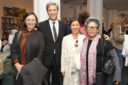 (2nd-R) LACMA CEO and Director Michael Govan, dosa designer Christina Kim, and artist Betye Saar attend LACMA's Director Circle debuts the Spring 2015 Wear LACMA collection featuring designs by dosa And FREECITY at LACMA on May 20, 2015 in Los Angeles, California.