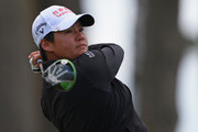Yani Tseng of Taiwan watches her tee shot on the 11th hole during the second round of the Mediheal Championship at Lake Merced Golf Club on April 27, 2018 in Daly City, California.