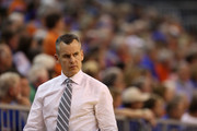 Head coach Billy Donovan of the Florida Gators   looks on during the game against the LSU Tigers at Stephen C. O'Connell Center on January 20, 2015 in Gainesville, Florida.
