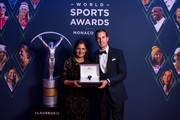 New member of the Laureus World Sports Academy, Lorena Ochoa received the new Aquatimer Chronograph Edition Laureus Sport for Good from IWC CEO Christoph Grainger-Herr which was launched on the occasion of the Laureus World Sport Awards on February 18, 2019 in Monte Carlo, Monaco.