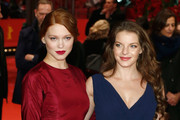 (L-R) Actress Lea Seydoux and actress Yvonne Catterfeld attend the 'La belle et la bete' (Die Schoene und das Biest) premiere during 64th Berlinale International Film Festival at Berlinale Palast on February 14, 2014 in Berlin, Germany.