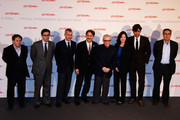 "(L-R)  Enrico Magrelli, Antonio Monda, Giampaolo Letta, Gian Luca Farinelli,  Martin Scorsese, Margaret Bodde, Patrizio di Marco and Mario Sesti pose at the ""La dolce vita"" photocall during The 5th International Rome Film Festival at Auditorium Parco Della Musica on October 30, 2010 in Rome, Italy."