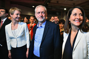 Jeremy Corbyn (C) is announced as the new leader of the Labour Party at the Queen Elizabeth II conference centre on September 12, 2015 in London, England. Mr Corbyn was announced as the new Labour leader today following three months of campaigning against fellow candidates ministers Yvette Cooper (2nd L) and Andy Burnham (L) and shadow minister Liz Kendall (R). The leadership contest comes after Ed Miliband's resignation following the general election defeat in May.