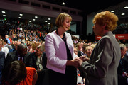 Harriet Harman (L) greets Mary Turner ahead of Labour Leader Jeremy Corbyn making his first leadership speech on September 29, 2015 in Brighton, England. The four day annual Labour Party Conference takes place in Brighton and is expected to attract thousands of delegates with keynote speeches from influential politicians and over 500 fringe events.  (Photo by Jeff J Mitchell/Getty Images)