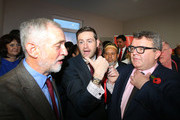 Labour party leader Jeremy Corbyn (L) and Deputy Leader Tom Watson (R) alongside Labour candidate Jim McMahon during a launch event at the party's campaign centre on November 6, 2015 in Oldham, England. Following the death of the Labour MP and former Shadow Cabinet member, Michael Meacher, who held the seat since 1997, a by-election will be held in the Oldham West and Royton Constituency on December 3.