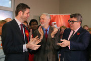 Labour party leader Jeremy Corbyn (C) and Deputy Leader Tom Watson (R) alongside Labour candidate Jim McMahon during a launch event at the party's campaign centre on November 6, 2015 in Oldham, England. Following the death of the Labour MP and former Shadow Cabinet member, Michael Meacher, who held the seat since 1997, a by-election will be held in the Oldham West and Royton Constituency on December 3.