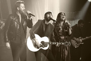 "Image was processed using digital filters) (L-R) Recording artists Charles Kelley, Dave Haywood and Hillary Scott of Lady Antebellum perform as the band kicks off its 15-show residency ""Our Kind of Vegas"" at The Pearl concert theater at Palms Casino Resort on February 8, 2019 in Las Vegas, Nevada."