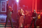 "(L-R) Recording artists Charles Kelley, Hillary Scott and Dave Haywood of Lady Antebellum perform as the band kicks off its 15-show residency ""Our Kind of Vegas"" at The Pearl concert theater at Palms Casino Resort on February 8, 2019 in Las Vegas, Nevada."