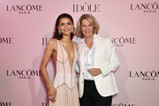 (R-L) Lancôme Global Brand President, Francoise Lehmann and Zendaya, the face of the Lancôme Idôle fragrance, attend the launch at Palais D'Iena on July 02, 2019 in Paris, France.
