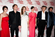 """(L-R) Vanesa Glodjo, Goran Kostic, Angelina Jolie, Bernard-Henri Levy and Gabriel Yared attend """"In the Land Of Blood And Honey"""" Pairs premiere on February 16, 2012 in Paris, France."""