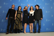 """(L-R)  Actors Goran Kostic, Vanesa Glodjo, director Angelina Jolie, actrors Zana Marjanovic and Rade Srbedzija attend the """"In The Land Of Blood And Honey"""" Photocall during day three of the 62nd Berlin International Film Festival at the Grand Hyatt on February 11, 2012 in Berlin, Germany."""