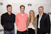 (L-R) Jamie Murray, Andy Murray, Katie Swan, and Bill Mountford attend as The Langham, New York, Fifth Avenue celebrates U.S. Open Tennis with Andy Murray and SPiN Studios on August 25, 2018 in New York City.