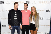 (L-R) Jamie Murray, Andy Murray, and Katie Swan attend as The Langham, New York, Fifth Avenue celebrates U.S. Open Tennis with Andy Murray and SPiN Studios on August 25, 2018 in New York City.