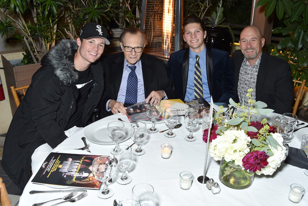 Friars Club Honors Larry King For His 86th Birthday At The Crescent Hotel [event,meal,lunch,dinner,ceremony,supper,restaurant,table,party,banquet,larry king,edward king,honors,larry king jr.,honors,l-r,the crescent hotel,friars club,chance armstrong king,birthday]