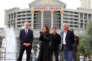 Gary Selesner, Caesars Palace regional president, (L) and John Meglen, president and CEO of AEG Live/Concerts West (R) welcome international superstar Shania Twain and her manager Jason Owen to Caesars Palace on November 14, 2012 in Las Vegas, Nevada. SHANIA: STILL THE ONE debuts Dec. 1 at The Colosseum at Caesars Palace.