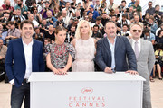 """(L-R) Javier Bardem, Adele Exarchopoulos, Charlize Theron, Jean Reno and Jared Harris attend """"The Last Face"""" Photocall during the 69th annual Cannes Film Festival at the Palais des Festivals on May 20, 2016 in Cannes, France."""