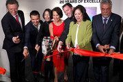 President Latin Academy of Recording Arts & Sciences Gabriel Abaroa, Christian Nodal, Angela Aguilar, Giselle Fernandez, President of The GRAMMY Museum Michael Sticka, First District Supervisor Hilda Solis and Deputy Los Angeles Council Albert Lord at Latin Music Gallery Ribbon Cutting at the GRAMMY Museum on November 18, 2019 in Los Angeles, California.