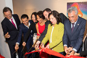 President Latin Academy of Recording Arts & Sciences Gabriel Abaroa, Christian Nodal, Angela Aguilar, Giselle Fernandez, President of The GRAMMY Museum Michael Sticka, First District Supervisor Hilda Solis and Deputy Los Angeles Council Albert Lord attend Latin Floor Ribbon Cutting + Program at the GRAMMY Musuem on November 18, 2019 in Los Angeles, California.