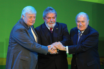 Joseph Sepp Blatter Launch Of 2014 FIFA World Cup Brazil Official Emblem.