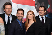 "(L-R)   Ben Affleck, Zack Snyder, Amy Adams, and Henry Cavill attend the launch of Bai Superteas at the ""Batman v Superman: Dawn of Justice"" premiere on March 20, 2016 in New York City."