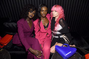 (L-R) Duckie Thot, Leomie Anderson and Anna Trevelyan attend the launch of the ESCADA Heartbag by Rita Ora on March 27, 2019 in New York City.