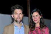 Adam Scott (L) and Naomi Scott attend the launch of the Jane Club in Larchmont Village on April 04, 2019 in Los Angeles, California.