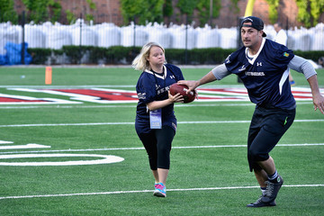 Lauren Potter Tom Brady Football Challenge For the Best Buddies Challenge