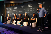 Andrew Giffiths, Director of Laureus Sport for Good speaks as (L-R) Laureus Academy Member Missy Franklin,Kosovare Asllani, Laureus Academy Chairman Sean Fitzpatrick and Arsene Wenger with Laureus Academy Member Nawal El Moutawakel look on during the Laureus Sport For Good Award Presentation on February 17, 2019 in Monaco, Monaco.