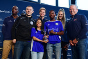 (Front Row L-R)   Co-founder and Executive Director Andrew So, Maria Martinez,Mohamed Konate from South Bronx United winners of the Laureus Sport For Good Award pose with the trophy with (Back Row L-R) Laureus Academy Members Michael Johnson, Laureus Ambassador Jens Lehmann, Laureus Academy Member Missy Franklin and Laureus Academy Chairman Sean Fitzpatrick attend Laureus Sport For Good Award Presentation at the Mercedes Benz Building prior to the 2020 Laureus World Sports Awards on February 16, 2020 in Berlin, Germany.