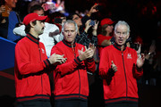 Jordan Thompson, Patrick McEnroe, Vice Captain of Team World and John McEnroe, Captain of Team World applaud as players are introduced to the crowd during Day One of the Laver Cup 2019 at Palexpo on September 20, 2019 in Geneva, Switzerland. The Laver Cup will see six players from the rest of the World competing against their counterparts from Europe. Team World is captained by John McEnroe and Team Europe is captained by Bjorn Borg. The tournament runs from September 20-22.