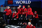 Team World celebrate in the singles match between Jack Sock of Team World and Fabio Fognini of Team Europe during Day One of the Laver Cup 2019 at Palexpo on September 20, 2019 in Geneva, Switzerland. The Laver Cup will see six players from the rest of the World competing against their counterparts from Europe. Team World is captained by John McEnroe and Team Europe is captained by Bjorn Borg. The tournament runs from September 20-22.
