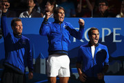 Thomas Enqvist, Vice Captain of Team Europe, Rafael Nadal and Roger Federer of Team Europe celebrate as they watch the singles match between Denis Shapovalov of Team World and Dominic Thiem of Team Europe during Day One of the Laver Cup 2019 at Palexpo on September 20, 2019 in Geneva, Switzerland. The Laver Cup will see six players from the rest of the World competing against their counterparts from Europe. Team World is captained by John McEnroe and Team Europe is captained by Bjorn Borg. The tournament runs from September 20-22.
