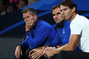 Thomas Enqvist, Vice Captain of Team Europe, Roger Federer and Rafael Nadal of Team Europe look on during the singles match between John Isner of Team World and Alexander Zverev of Team Europe during Day Two of the Laver Cup 2019 at Palexpo on September 21, 2019 in Geneva, Switzerland. The Laver Cup will see six players from the rest of the World competing against their counterparts from Europe. Team World is captained by John McEnroe and Team Europe is captained by Bjorn Borg. The tournament runs from September 20-22.