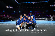 Team Europe pose with the trophy after winning the Laver Cup in the final match of the tournament during Day Three of the Laver Cup 2019 at Palexpo on September 22, 2019 in Geneva, Switzerland. The Laver Cup will see six players from the rest of the World competing against their counterparts from Europe. Team World is captained by John McEnroe and Team Europe is captained by Bjorn Borg. The tournament runs from September 20-22.