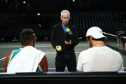 Team World captain John McEnroe talks with Nick Kyrgios and Jordan Thompson during a training session prior to the Laver Cup at Palexpo on September 17, 2019 in Geneva, Switzerland. ( The Laver Cup consists of six players from the rest of the World competing against their counterparts from Europe.John McEnroe will captain the Rest of the World team and Europe will be captained by Bjorn Borg)  The event runs from 20-22 Sept.
